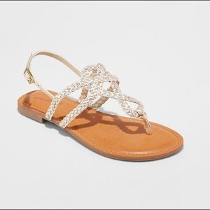 Universal thread braided gold & silver sandals